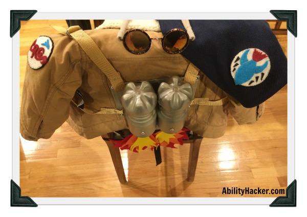 Rocket Girl jacket shirt glasses and rocket pack