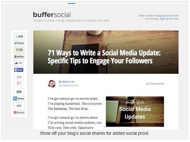 Montrez des actions sociales de votre blog comme preuve sociale