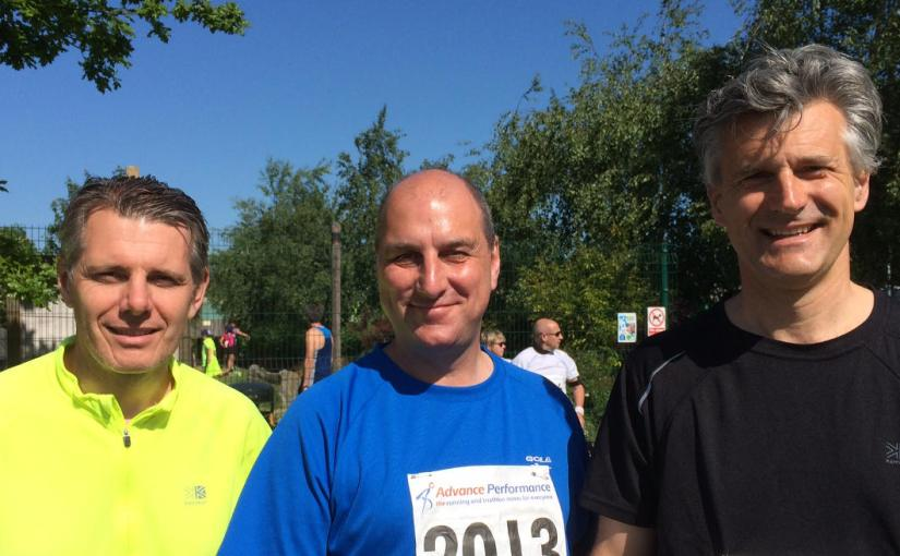 Richard, Jim and Lloyd at start of Flaming June Half Marathon