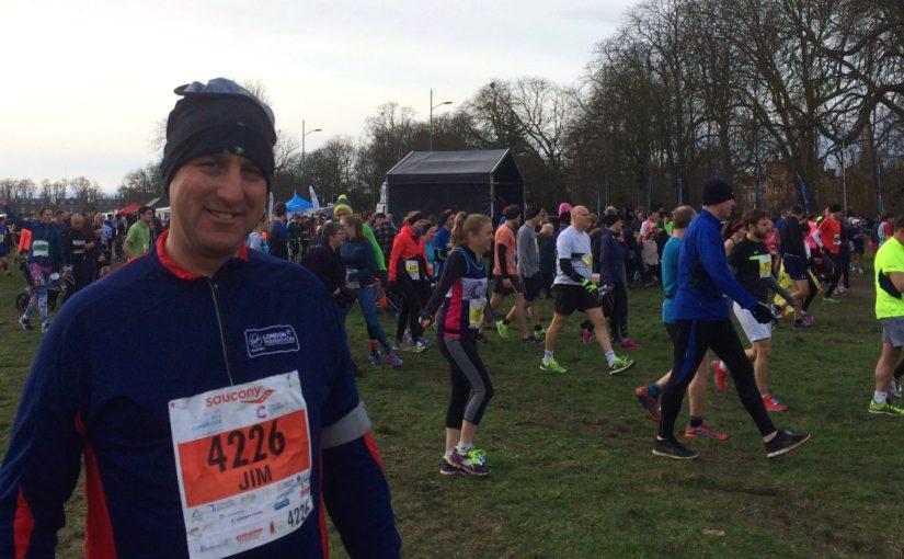 pic of Jim at start of Cambridge half marathon