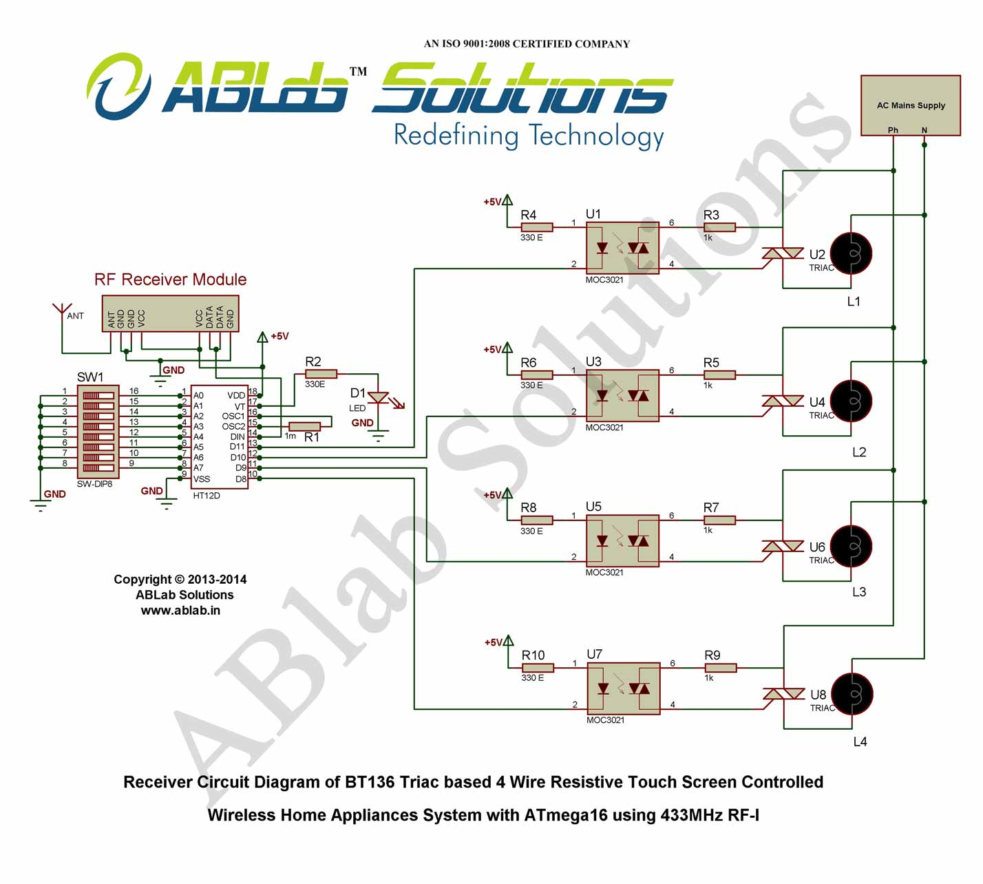 hight resolution of bt136 triac based 4 wire resistive touch screen