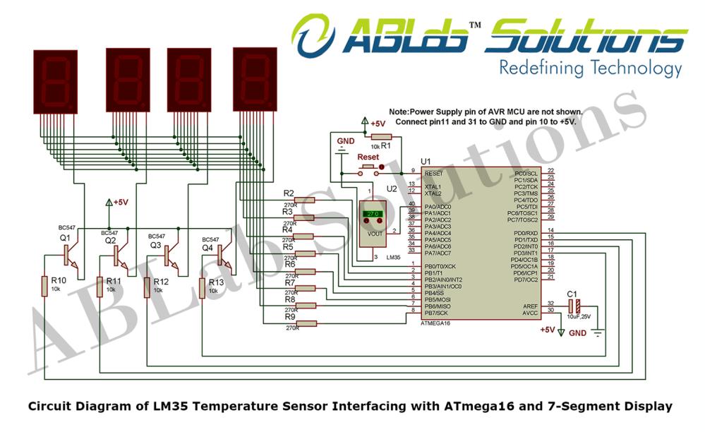 medium resolution of circuit diagram circuit diagram of lm35 temperature sensor interfacing with avr atmega16 microcontroller and 7 segment display png