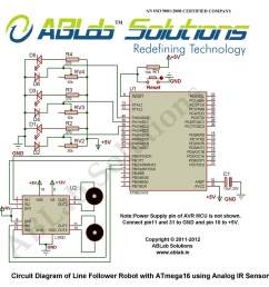 circuit diagram line follower robot with avr atmega16 microcontroller using analog ir  [ 995 x 1005 Pixel ]