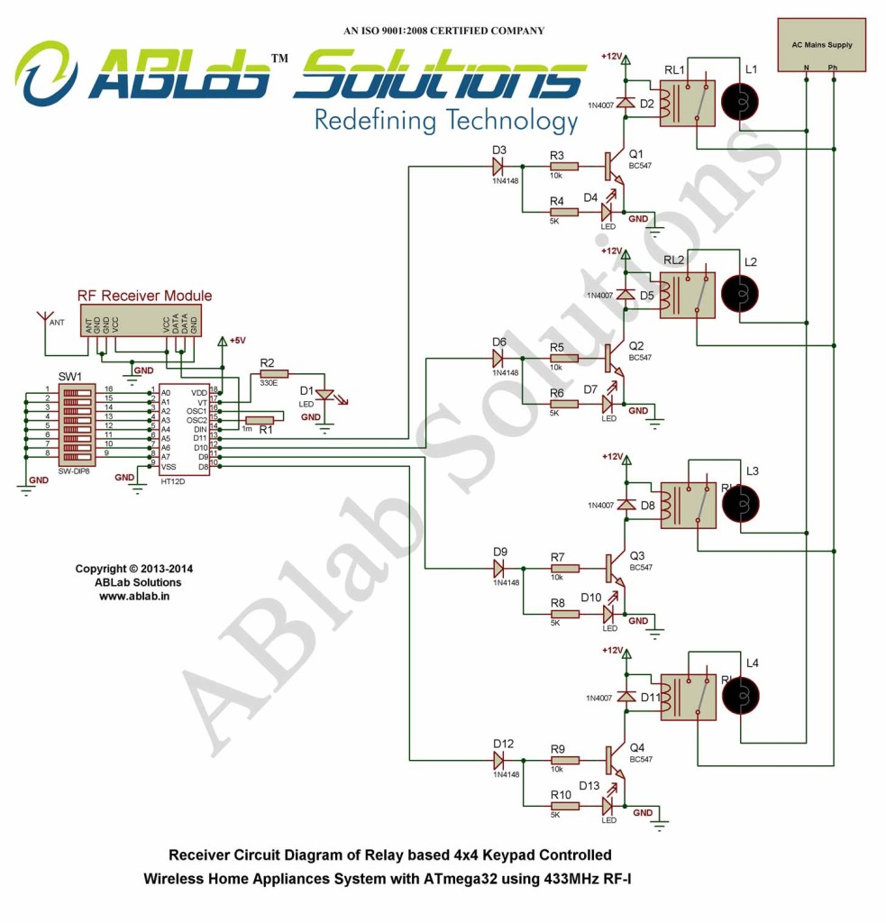 hight resolution of relay based 4x4 keypad controlled wireless home automation system rh ablab in rf circuit block rf transmitter and receiver circuit