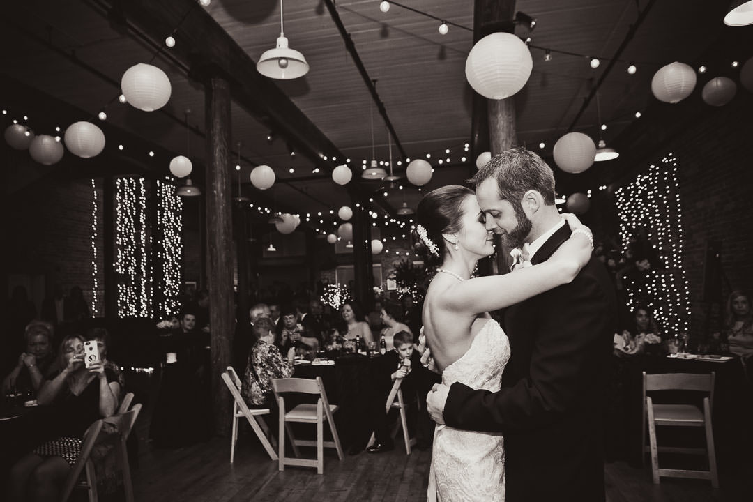 black and white first dance photo at city art