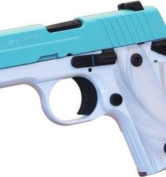 sig p238 pistol 238 380 tsw 380 acp pistol 2 7 in white pearl grips pearl white frame w robins egg blue slide 6 rd [ 2336 x 1671 Pixel ]
