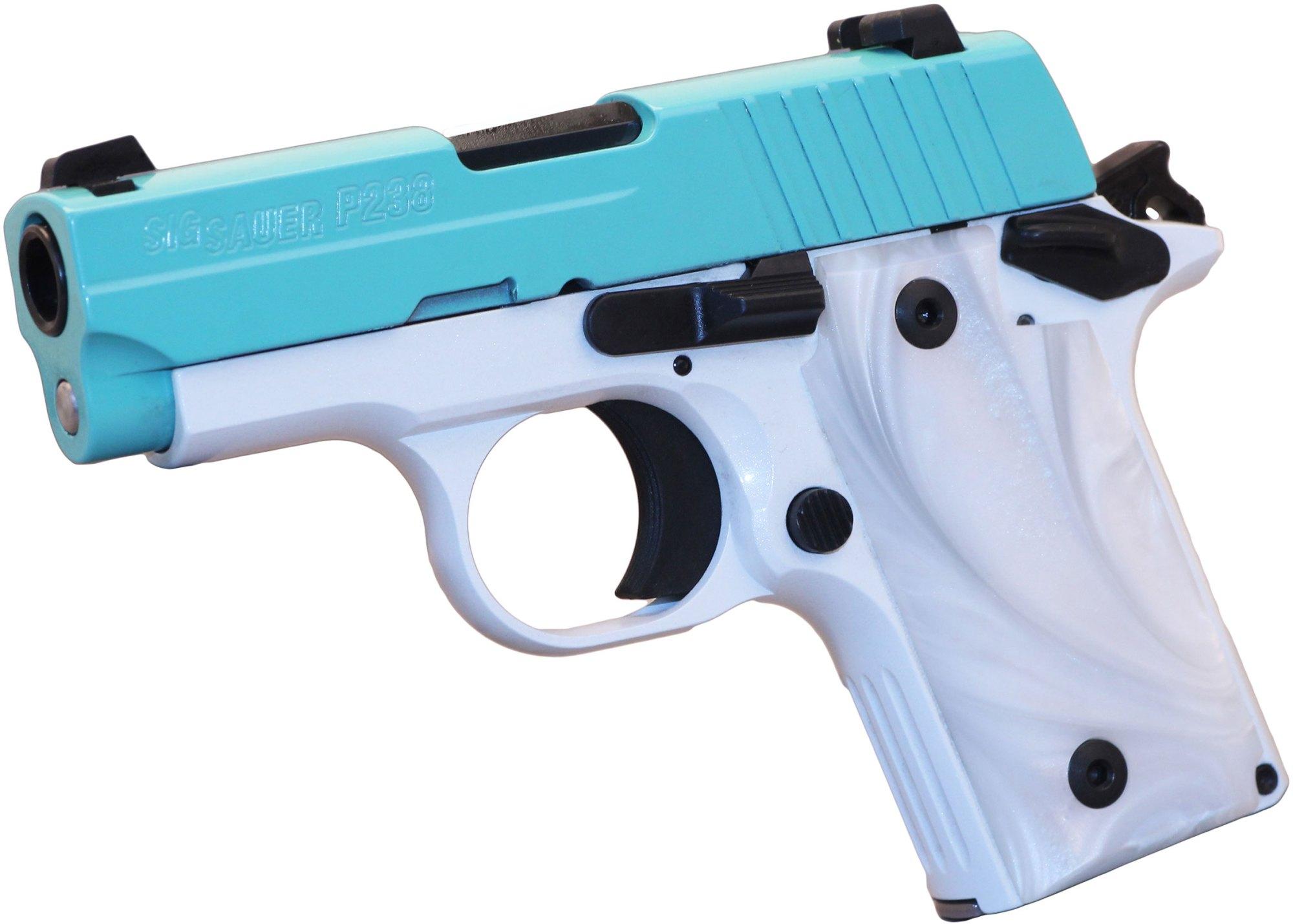hight resolution of sig p238 pistol 238 380 tsw 380 acp pistol 2 7 in white pearl grips pearl white frame w robins egg blue slide 6 rd