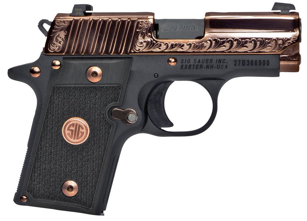 medium resolution of sig p238 rose gold pistol 238380erg 380 acp 3 black g10 grips rose gold finish 7 rds
