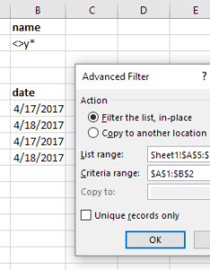 Thus you will have  does not begin with  condition add other of your own conditions and apply advanced filter also excel how to create use rh ablebits