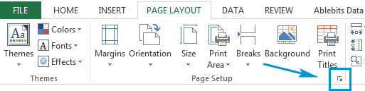 Click on the bottom-right expand arrow icon to get the Page Setup window