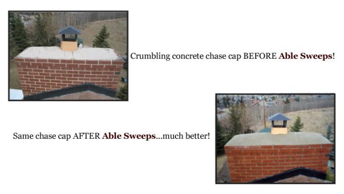 Crumbling concrete chase cap
