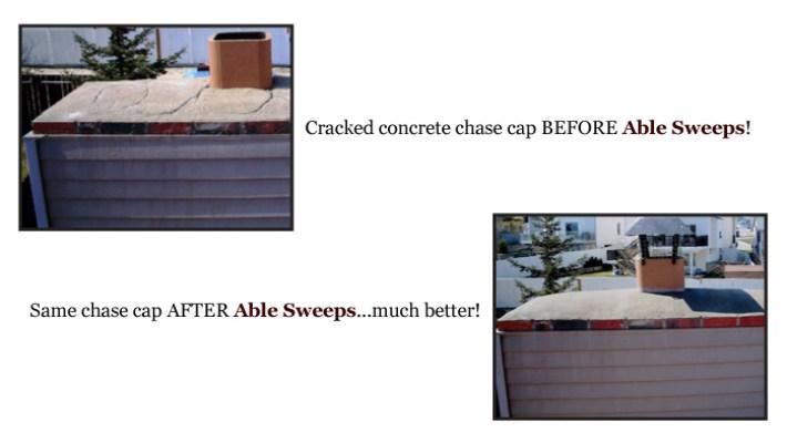 Cracked concrete chase cap