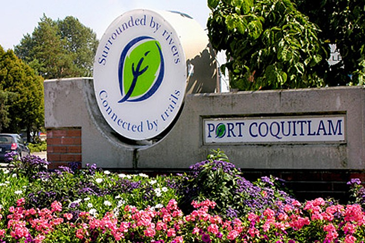 The sign for Port Coquitlam at the entrance to the downtown area.