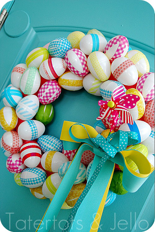 i love jen at tatertots and jello she is darn creative and i love her crafting creations this is her easter wreath made with washi tape just fabulous
