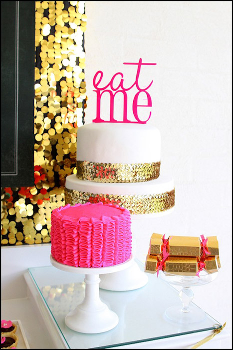 Delicious Desserts Including A Simple White Cake Adorned With Gold Sequins And Fun Pink Topper Beautiful Ruffled Macarons
