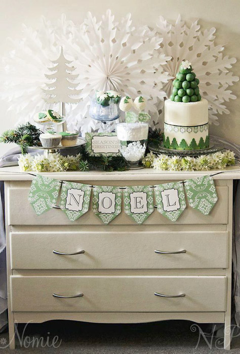 Green and white Christmas dessert table 2