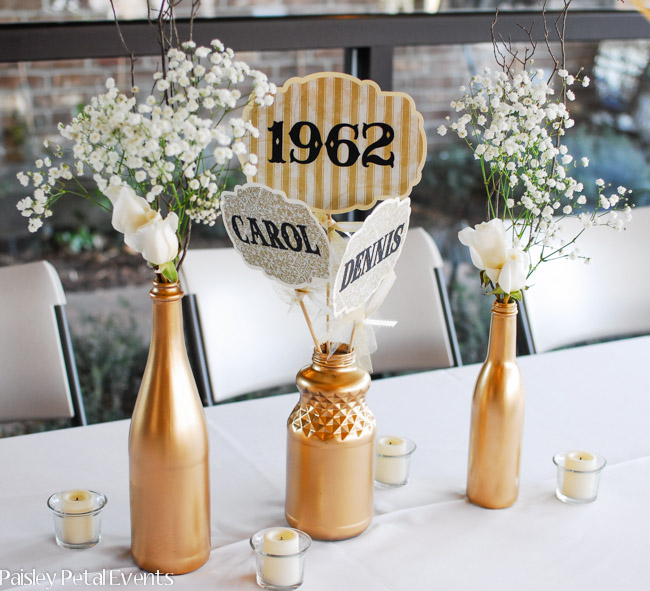 Golden Wedding Centerpieces.Golden 50th Wedding Anniversary