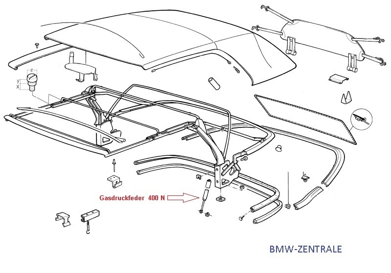 BMW E30 Cabrio Gasdruckfeder Verdeckgestänge 400N Dämpfer