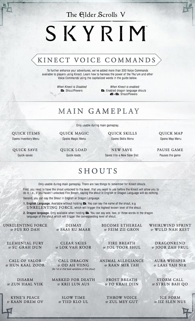 Skyrim Kinect Voice Commands