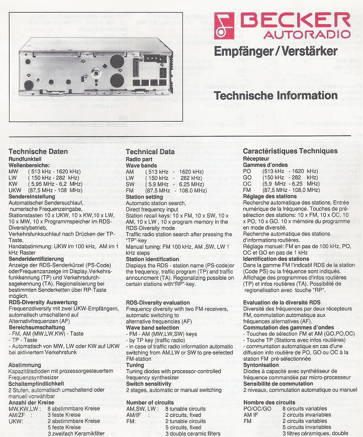 Becker Mexico CC mit CD Wechslersteuerung, 4x15W und RDS