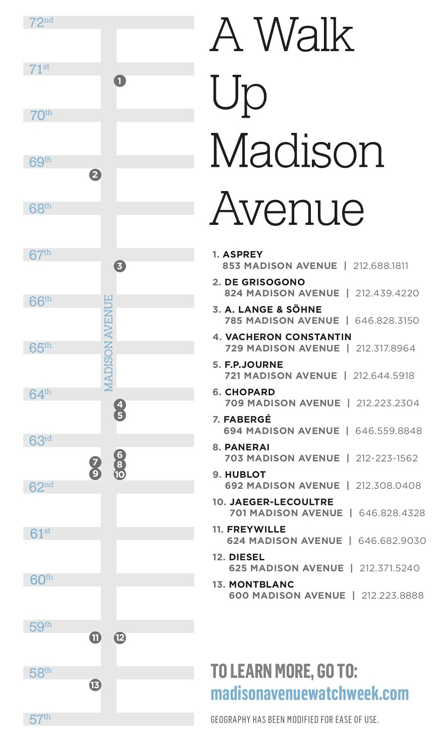 6th Annual Madison Avenue Watch Week April 13-20, 2016 Shows & Events