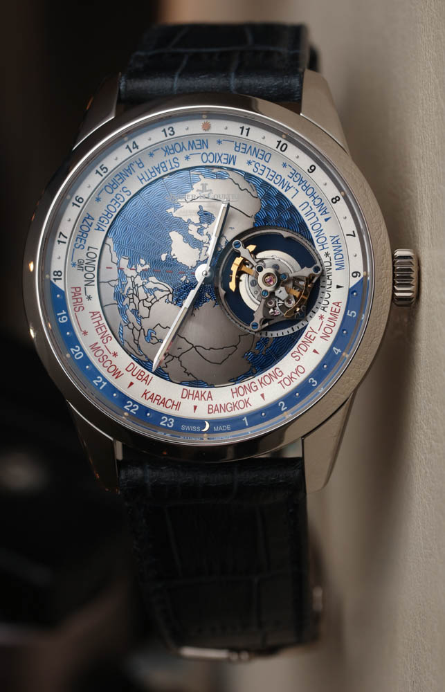 Jaeger lecoultre geophysic universal time tourbillon watch hands on ablogtowatch for Geophysic watches
