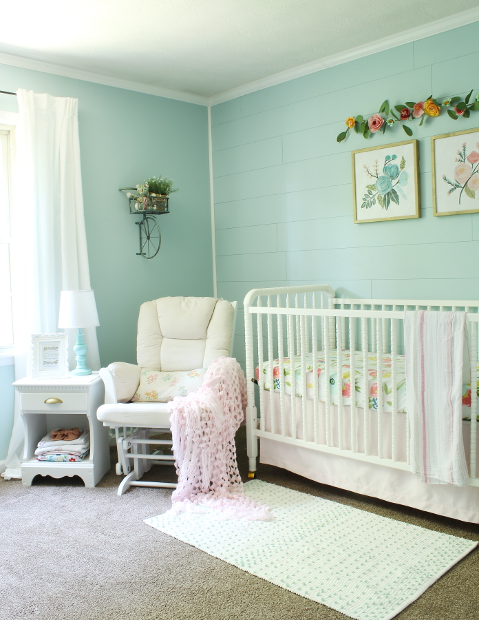feminine, floral, baby girl, cottage inspired girl's nursery