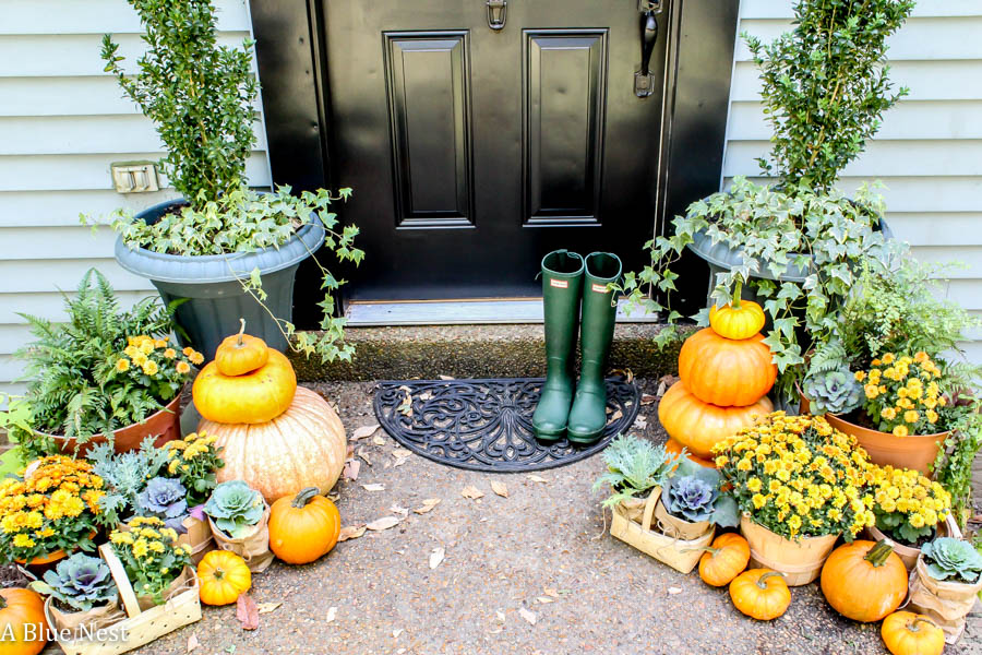 pumpkins. mums, farmhouse, porch