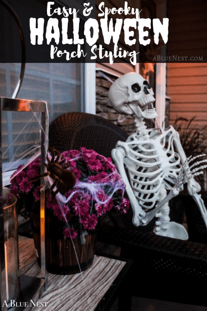 In less than ten minutes, transform your outdoor Fall space into an easy and spooky Halloween porch that's perfect for welcoming little spooks and goblins! - A Blue Nest