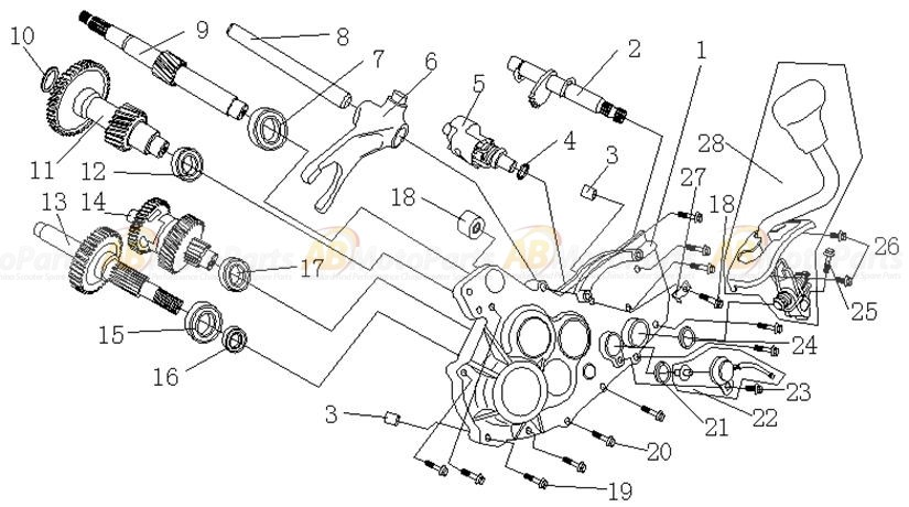 Gearbox, Middle Shaft. ATV150-GY6, L=114, ABmotoparts.com