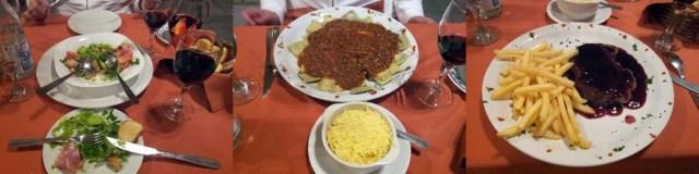 Italienischer Salat, Ravioli Bolognese, Entrecôte mit Rotweinsoße und Pommes