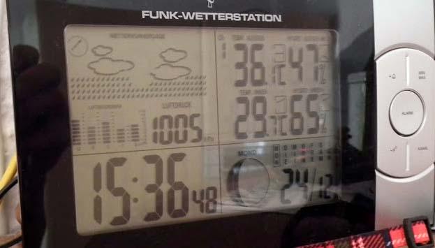 15:36 Uhr, Außentemperatur 36°C, Innentemperatur 29°C