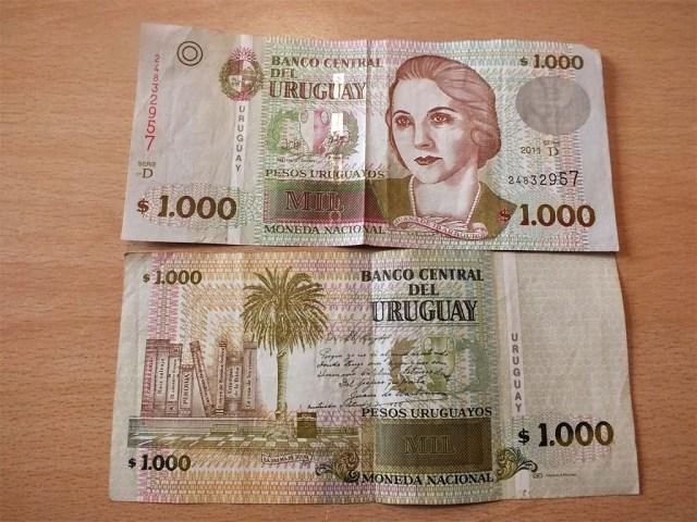 Diese Scheine sind aus dem Automaten unserer uruguayischen  Hausbank und hoffentlich echt... ;-)