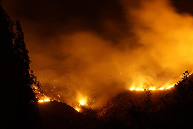 Waldbrand in der Gemeine Pirque, in Santiago de Chile