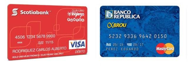 Die Debit-Karten von Scotiabank und BROU