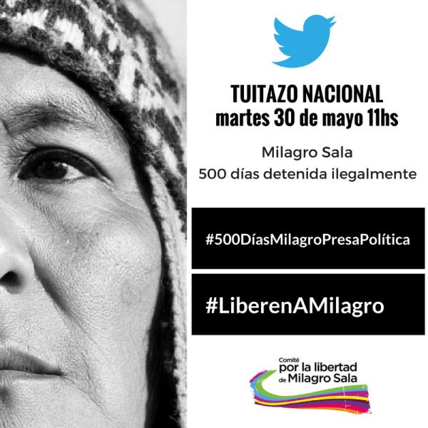Aufruf zur Kundgebung für die Freilassung von Milagro Sala am 23. Mai vor dem Hotel Sheraton in Buenos Aires, wo die CIDH-Kommission tagte QUELLE: FACEBOOK.COM