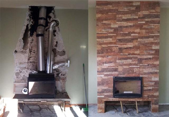 Unser Kamin im Aufbau und fertig