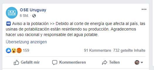 Mitteilung von OSE Uruguay in Facebook