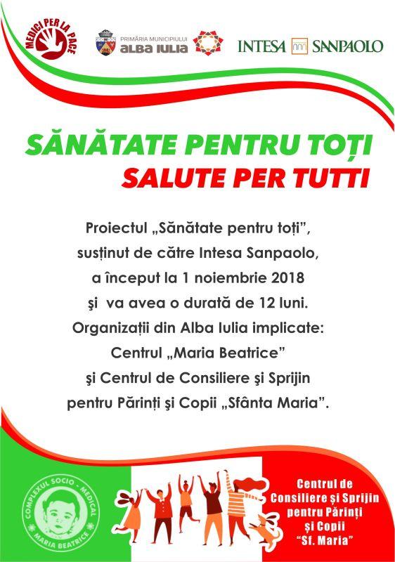 Proiect cu finanțare nerambursabilă, implementat în colaborare cu asociația italiană Medici per la Pace și susținut de către Grupul Intesa ...