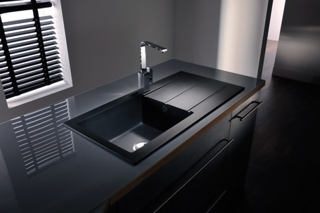 black sink kitchen carts target composite sinks cleaning recommendations dont s