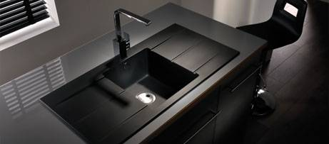 black sink kitchen counter top sinks from abode composite inset