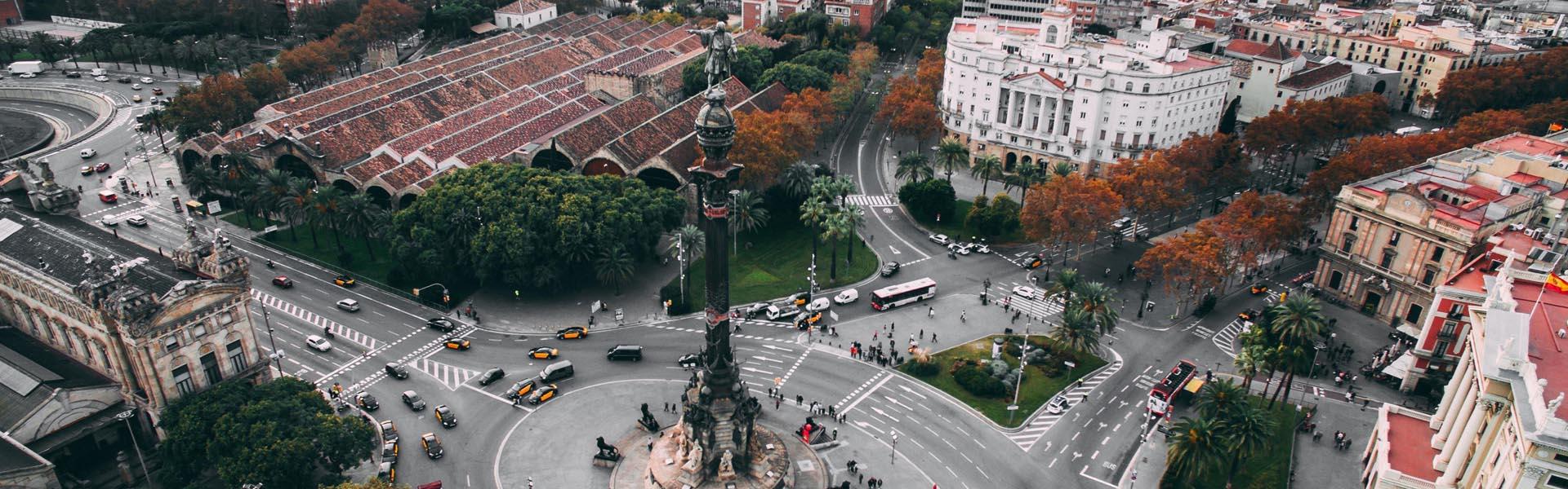 Vista aerea del monument a Colom a Barcelona