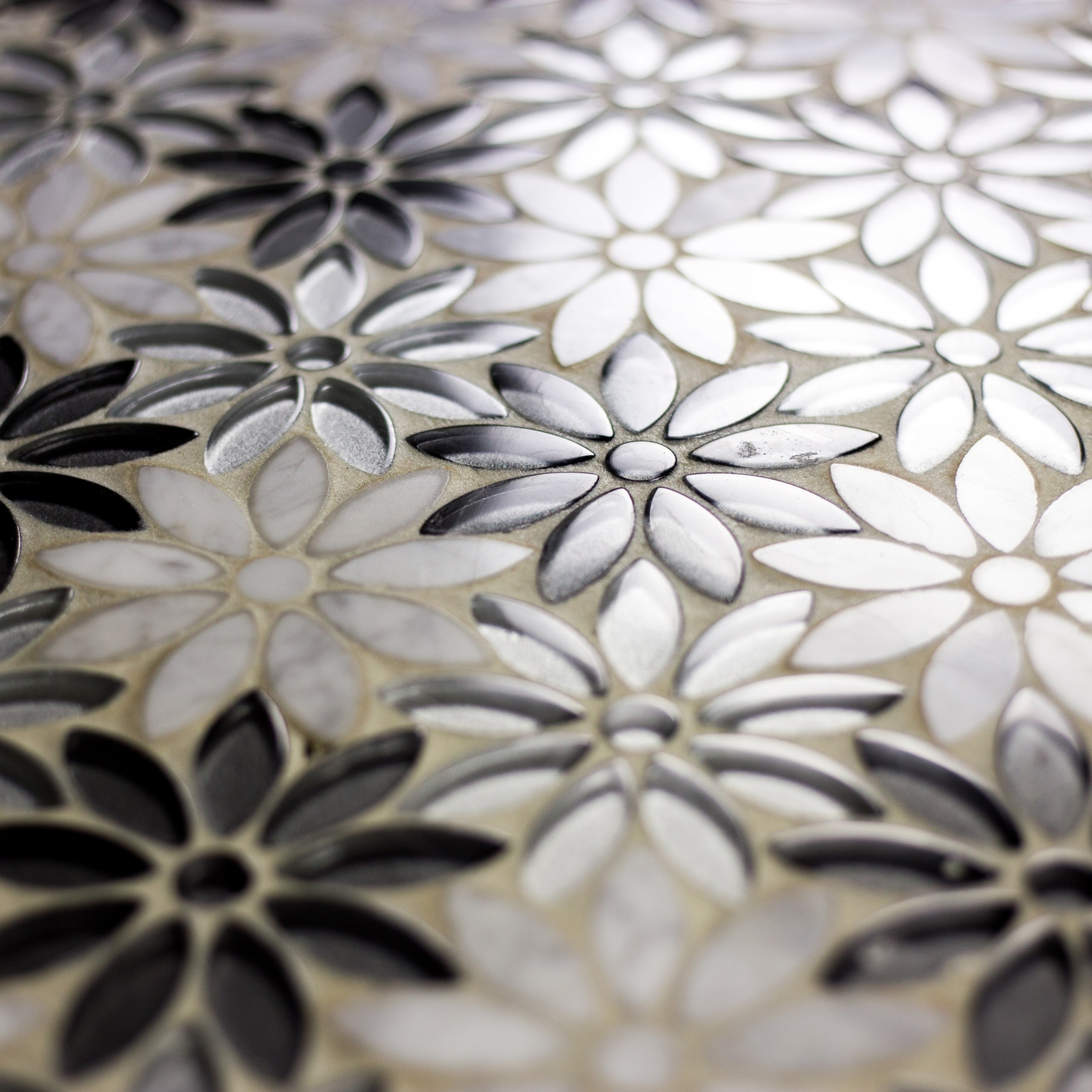 Flower Illusion 12 in x 12 in Glass and Stone Waterjet
