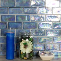 """Atmosphere 2"""" x 4"""" Glossy Iridescent Blue Glass Loose ..."""