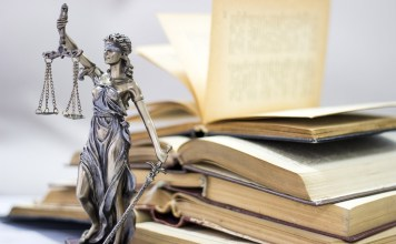 Law concept, statue and books