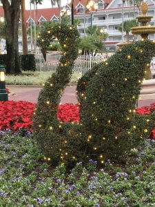 swan covered with white lights at the Grand Floridian
