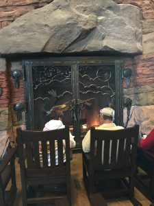 fireplace in the lobby of Wilderness Lodge