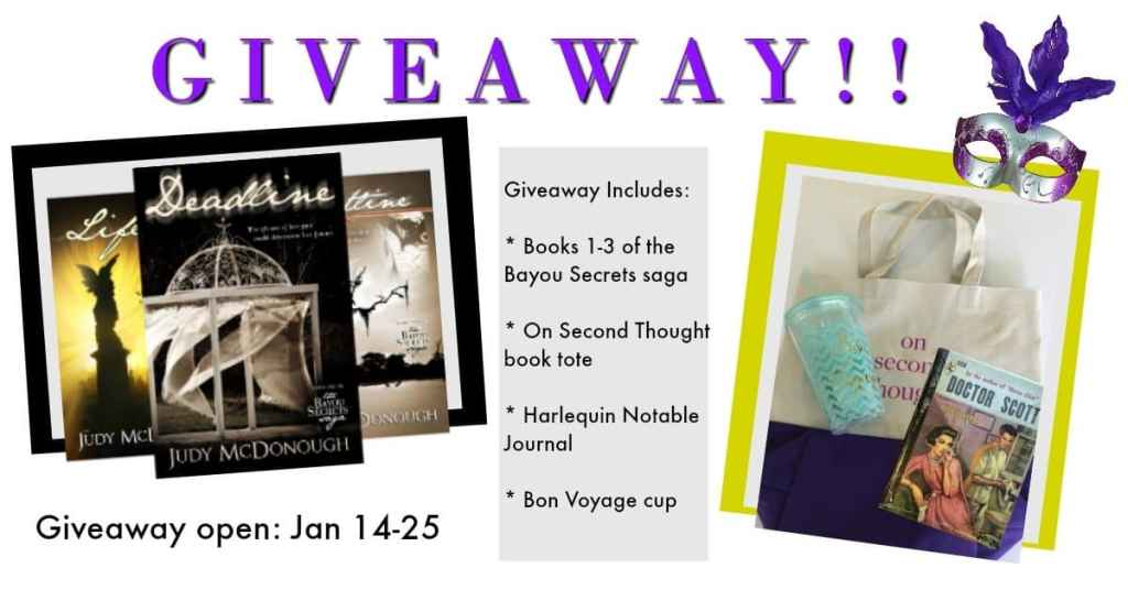 giveaway prizes, books, tote, water bottle and juournal