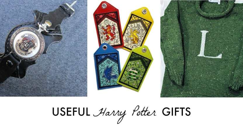 sweater with letter on it like a Weasley sweater; Harry Potter luggage tags and a Harry Potter Steampunk watch - Useful Harry Potter products