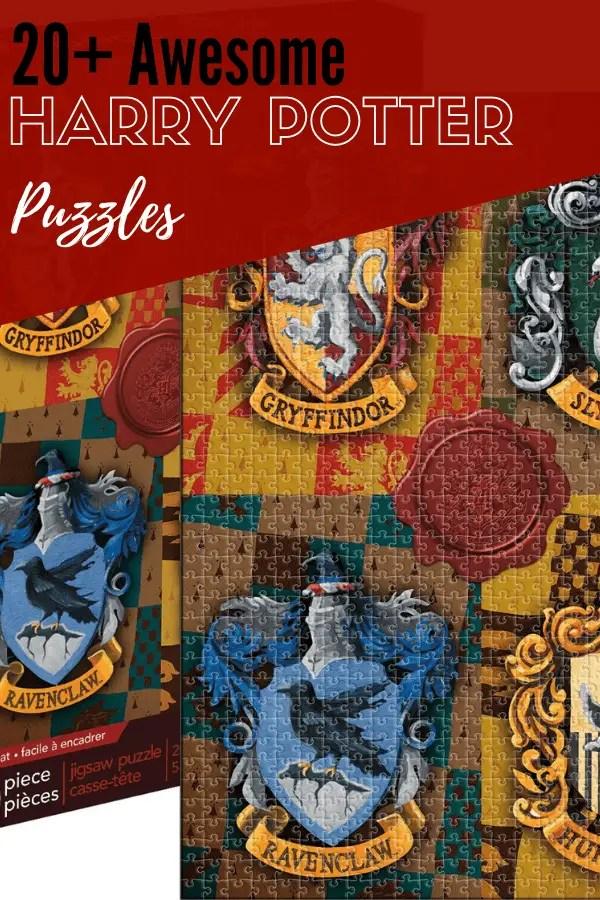 harry potter puzzle box with Hogwarts House logos